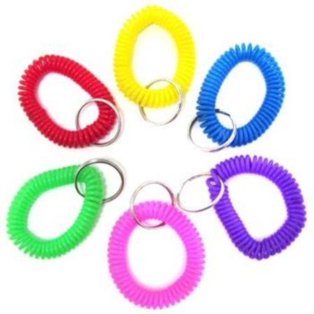 24 coil bracelet keychains (4 each of 6 different colors!)