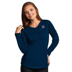 Chicago Fire Womens Flip V-Neck L/S T-Shirt (Color: Navy)