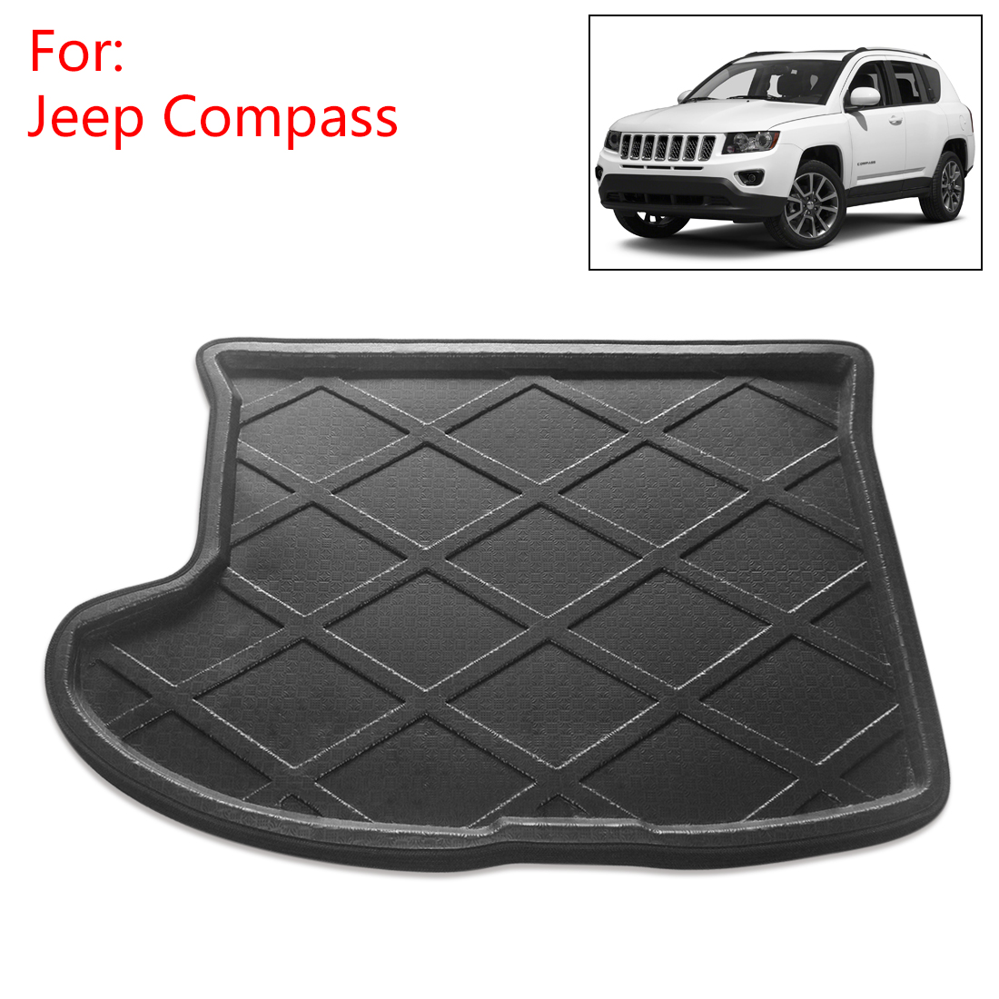 Car Rear Trunk Tray Liner Cargo Floor Mat Cover for Jeep Compass 2007-2016, Black