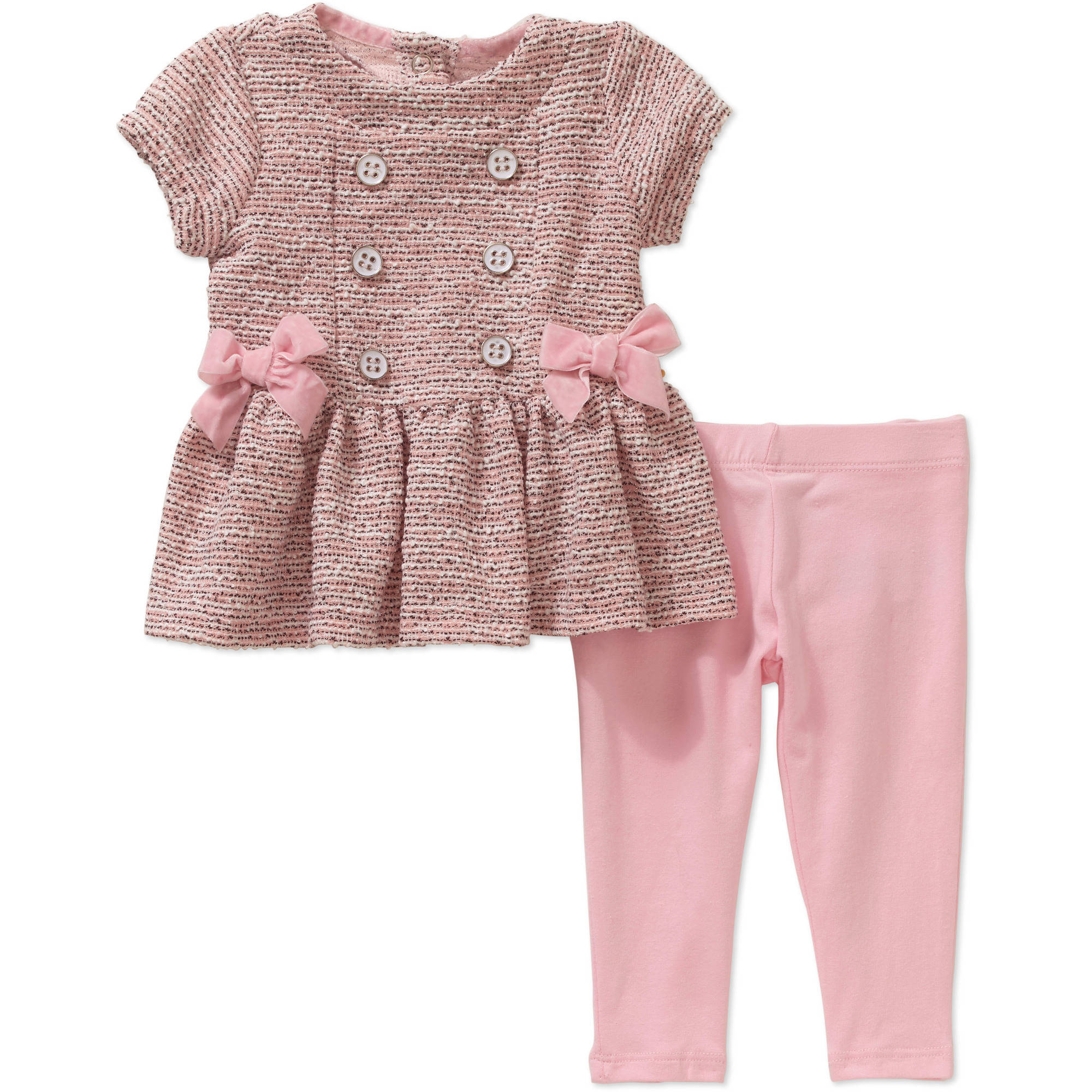 Quiltex Newborn Baby Girls' Bow Peplum Top with Leggings Set
