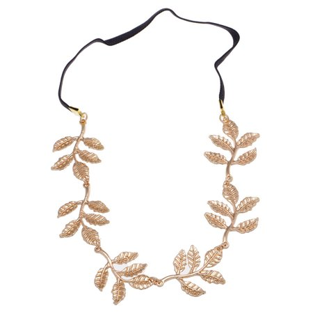 Feinuhan Pretty Golden Tone Autumn Falling Leaves Boho Hair Piece Stretch Headband](Head Piece)