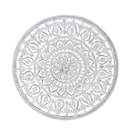 Decmode Traditional Round Carved Design Wooden Wall Panel, Brown ()
