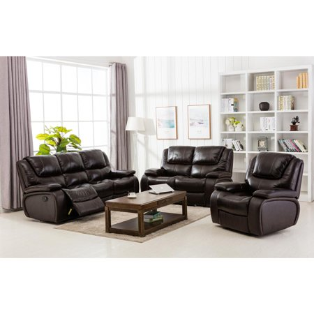 Top Grain Leather Match Motion Living Room Set - -