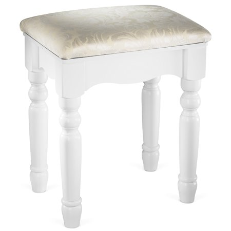 Fineboard Luxury Vanity Stool Makeup Dressing Stool Pad Cushioned Chair for Vanity Tables and Bedroom Sets, White ()