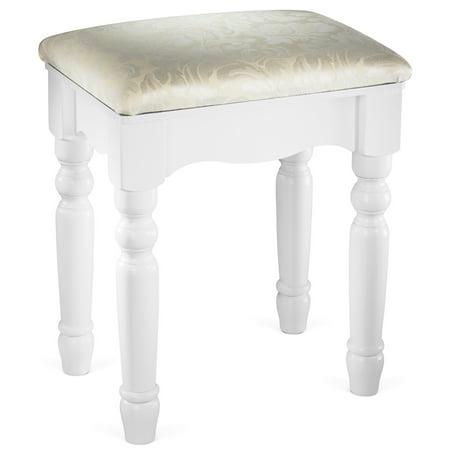 Fineboard Luxury Vanity Stool Makeup Dressing Stool Pad Cushioned Chair for Vanity Tables and Bedroom Sets, White