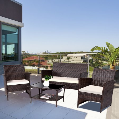 Gymax 4 PCS Patio Rattan Garden Furniture Set Wicker Sofa Table with Cushion Outdoor