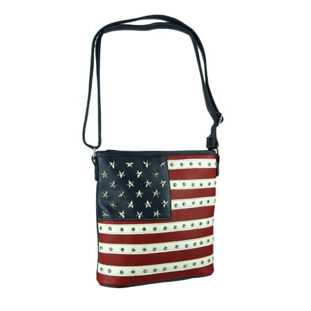 Black White and Red Stars and Stripes Concealed Carry Crossbody Bag - Black And White Striped Bag