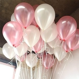 10 Inch White & Light Pink Helium Balloons for Party Decoration 100 Pcs/lot