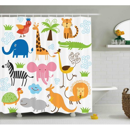 Zebra Print Baby Shower (Animal Shower Curtain, Cute Set of Giraffe Elephant Zebra Turtle Kids Nursery Baby Themed Cartoon Comic Print, Fabric Bathroom Set with Hooks, 69W X 70L Inches, Multi, by)