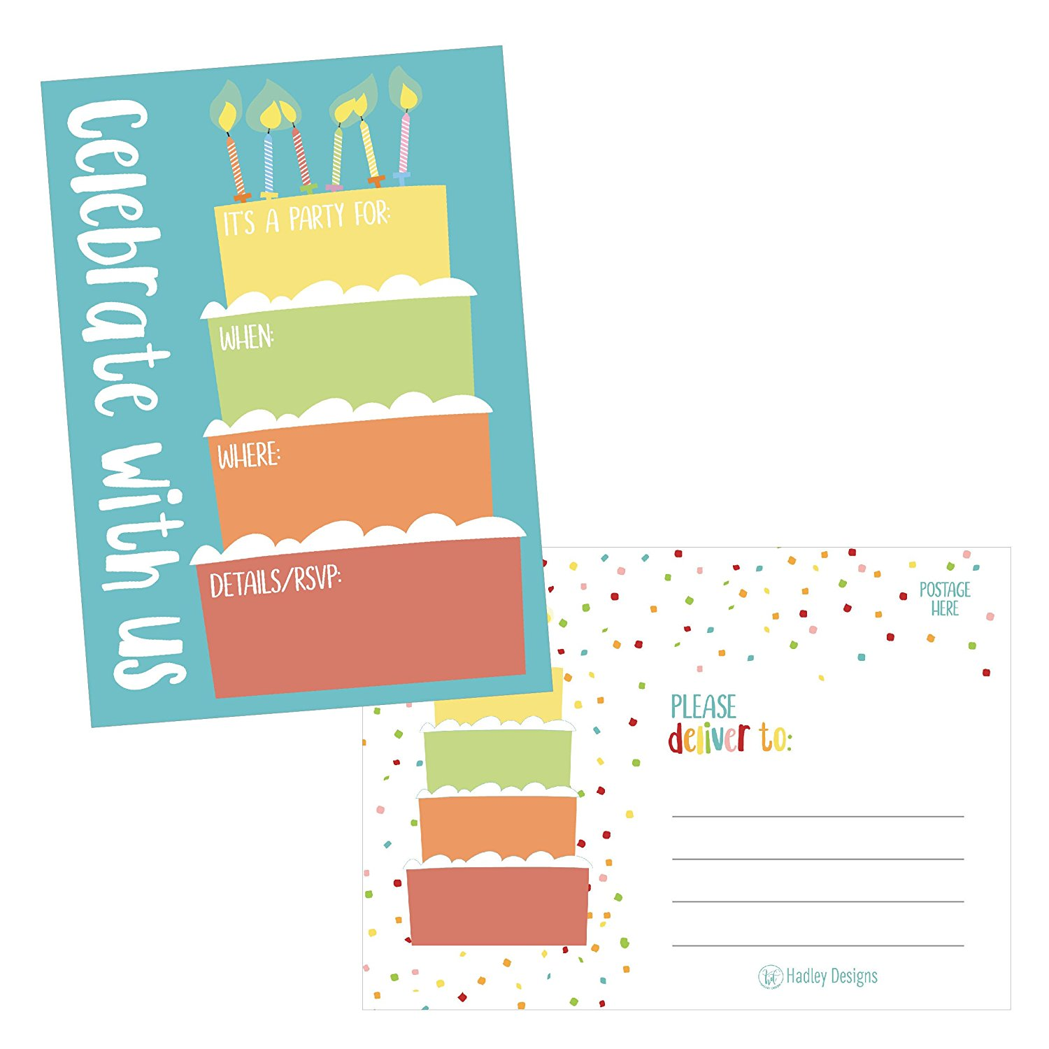 25 Cake Rainbow Party Invitations For Kids Teens Adults Boys