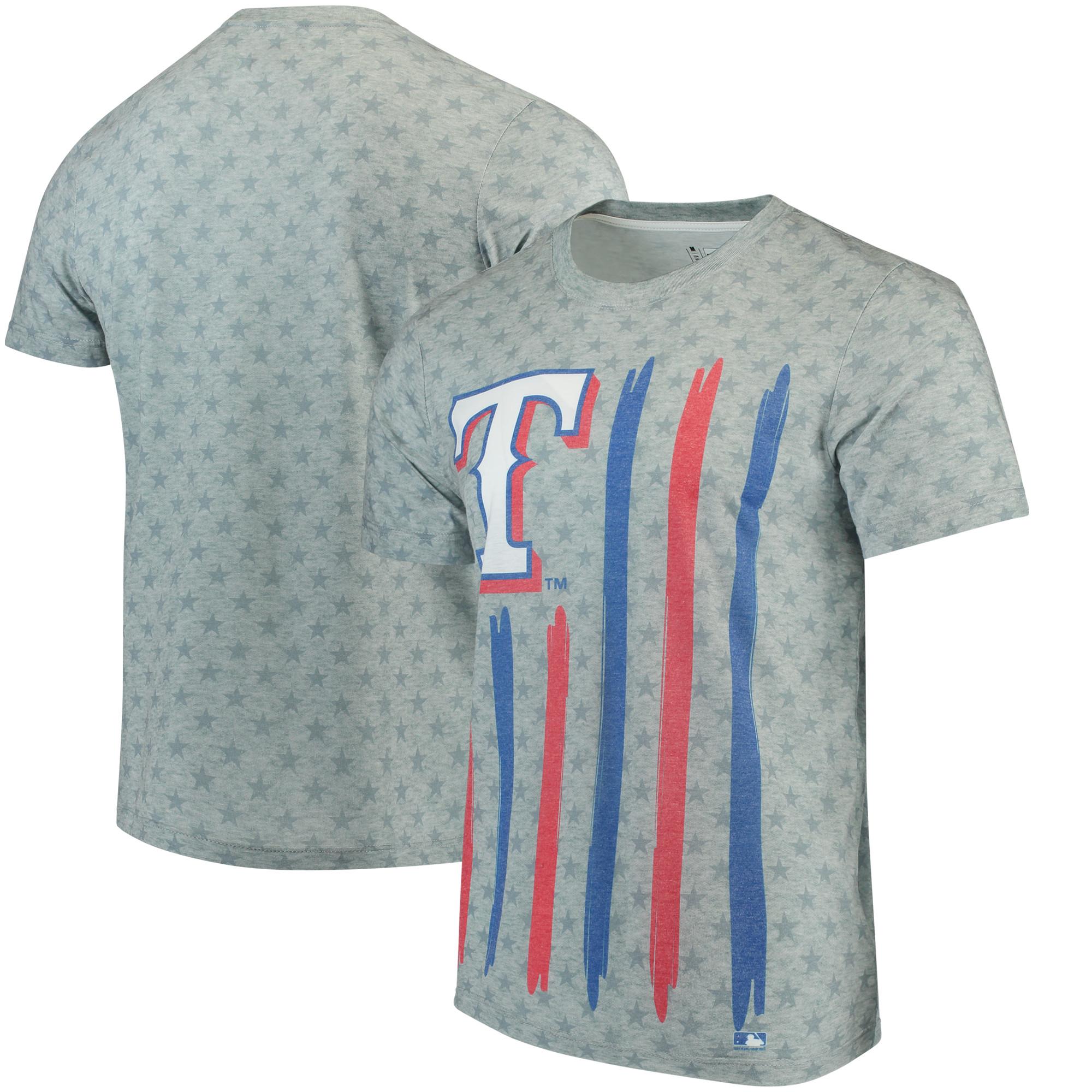 Texas Rangers Big Logo Flag T-Shirt - Gray