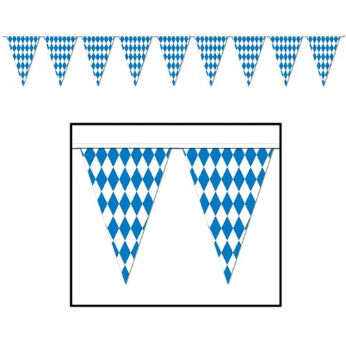 Club Pack of  12 Blue and White Oktoberfest Pennant Banner Hanging Decorations 120'