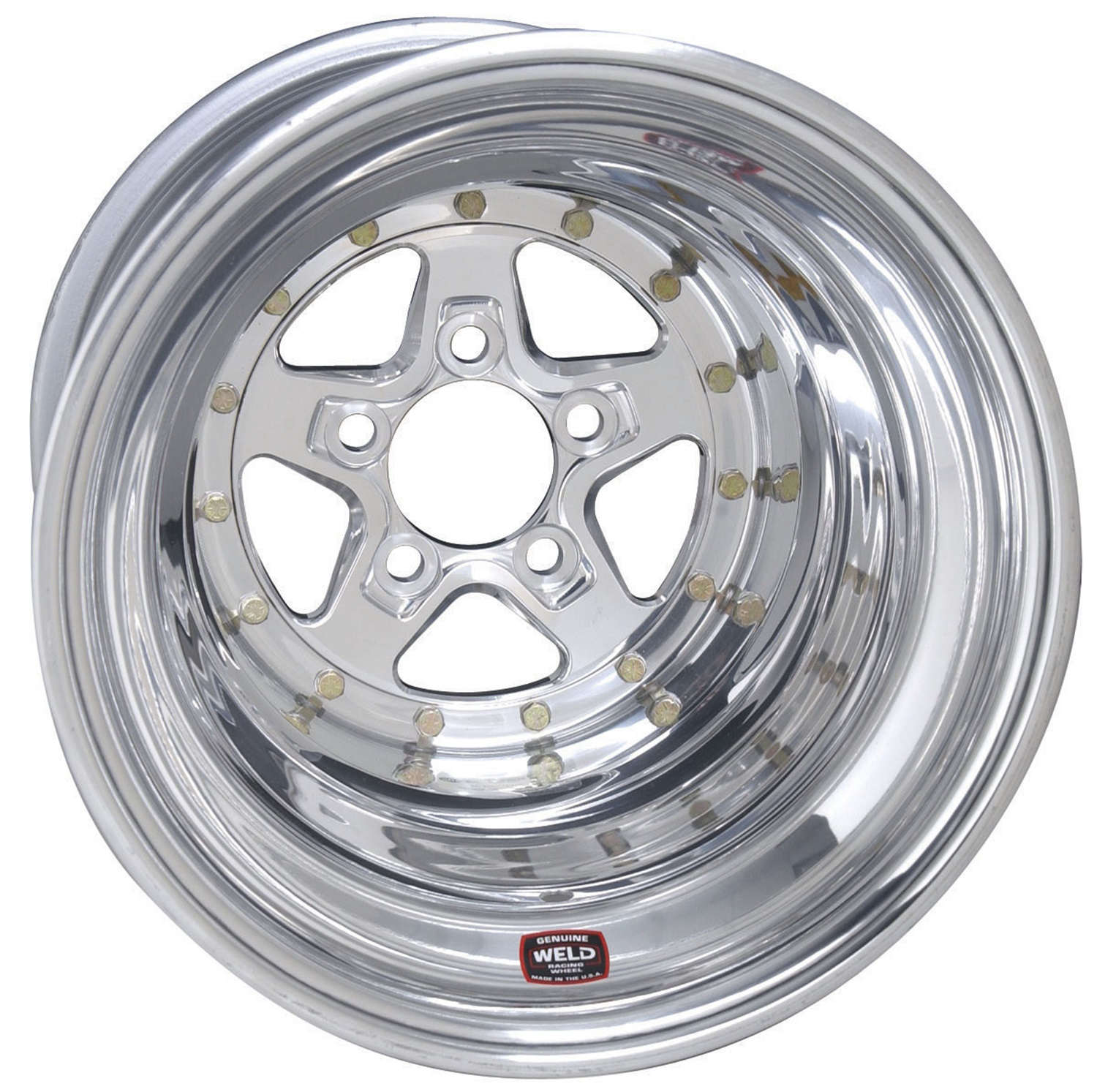 Weld Racing 88-514278 Weld Pro Drag Alumastar 2.0; Size 15x14 in.; Bolt Pattern 5x4.75 in.; -88.9 Offset; Back Spacing 4 in.; Polished Center; Polished Shell; Bore Diameter 3.18in./80.772mm.;