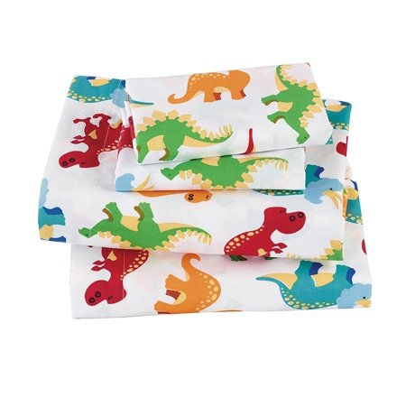 Fancy Linen 3pc Boys Twin Sheet Set Dinosaurs Blue Green Orange Red White New