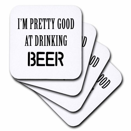 3dRose IM PRETTY GOOD AT DRINKING BEER - Ceramic Tile Coasters, set of