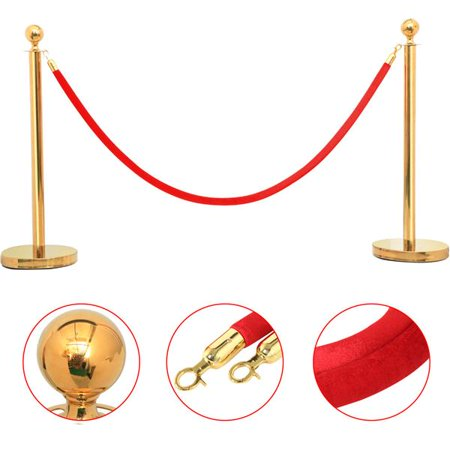 6pcs Retractable Stainless Steel Queue Post Crowd Control Stanchion Post w/6.5' Red Rope Gold