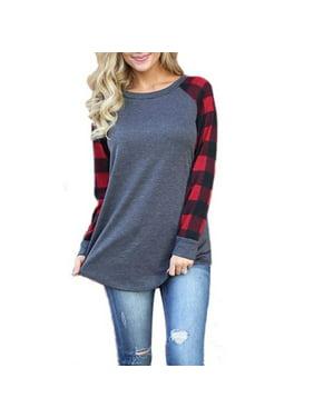 MarinaVida Women Plus Size Long Sleeve Plaids Cotton Shirt Pullover