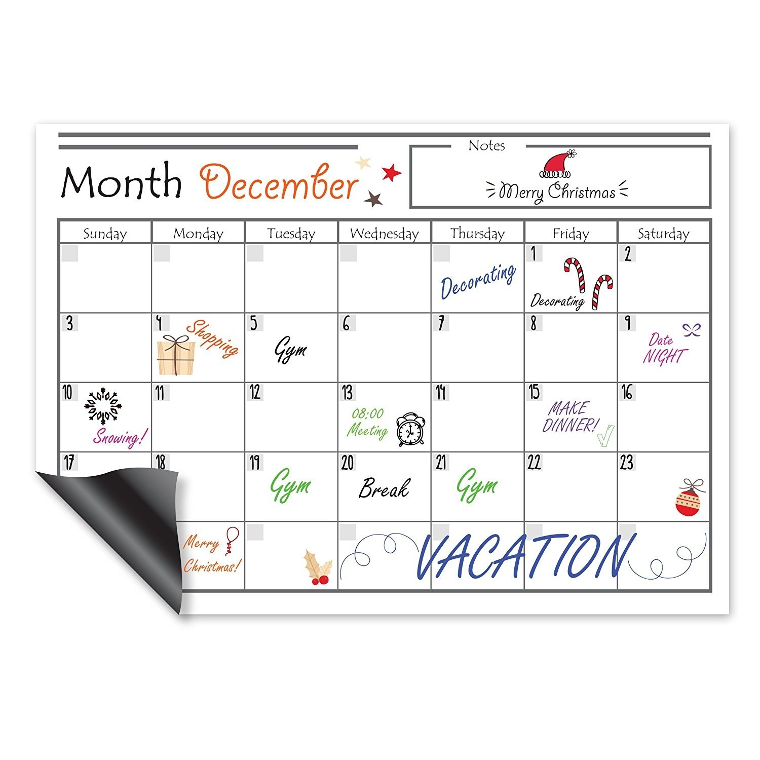 Magnetic Dry Erase Calendar And Shopping List Great For Your Office