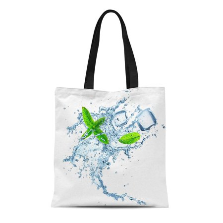 KDAGR Canvas Bag Resuable Tote Grocery Shopping Bags Blue Mint Water Splash Over White Peppermint Fresh Leaf Frozen Energy Spray Tote Bag