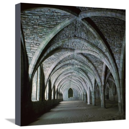 The Vaults in the Cellarium of Fountains Abbey, 12th Century Stretched Canvas Print Wall Art By CM Dixon - Halloween Fountains Abbey