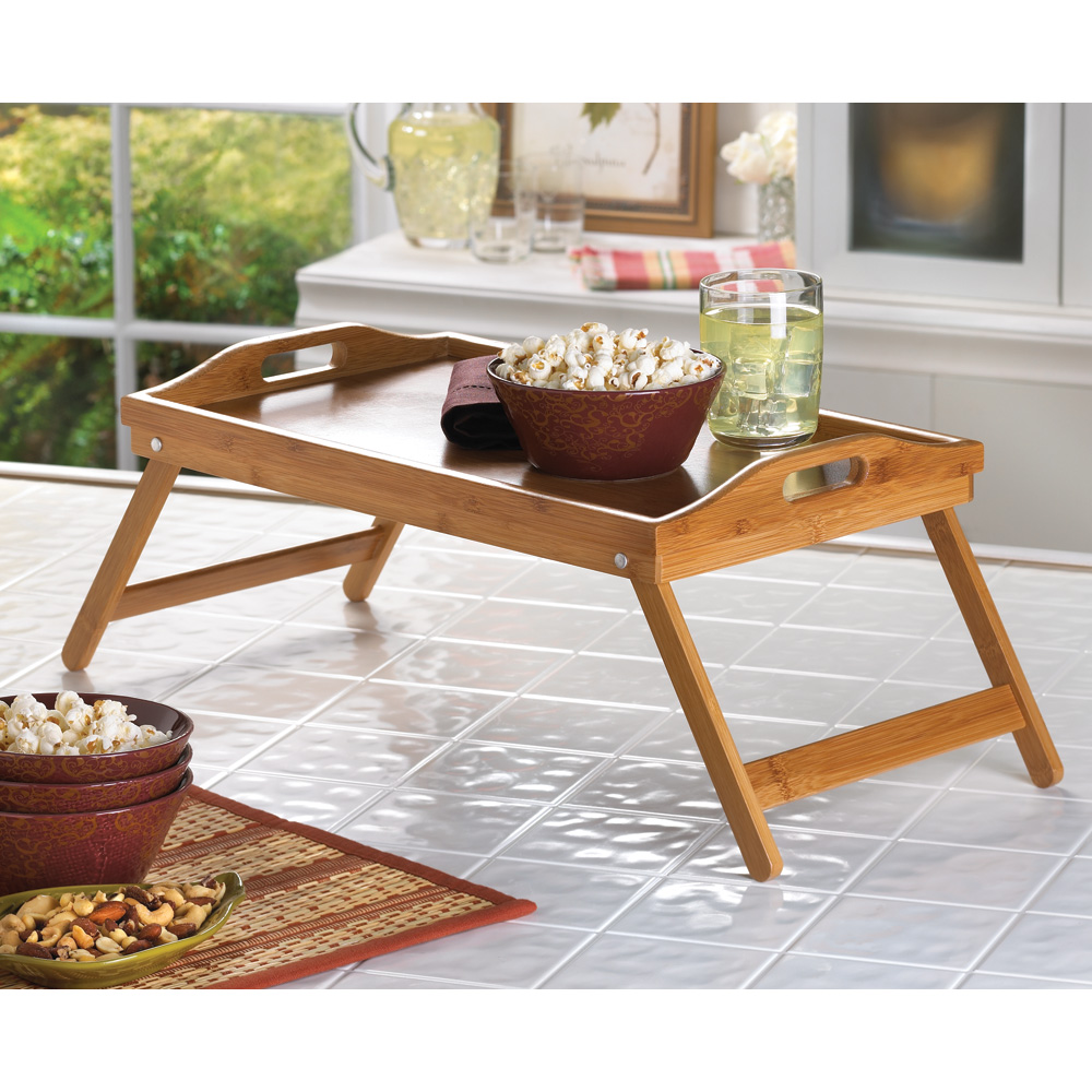 Bamboo Tray For Eating In Bed Wood Table With Handles