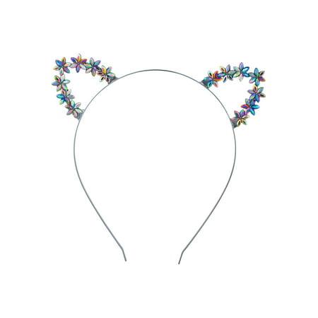 Lux Accessories Silver Tone Alloy Floral Marquise Cut Cat Ears Fashion Headband (Head Cut Off)