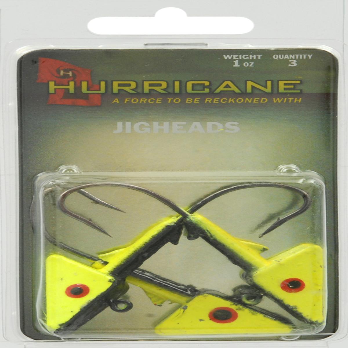 Hurricane Shad Heads 1Oz 3 Pack Chartreuse/Black - H-SAH10-103