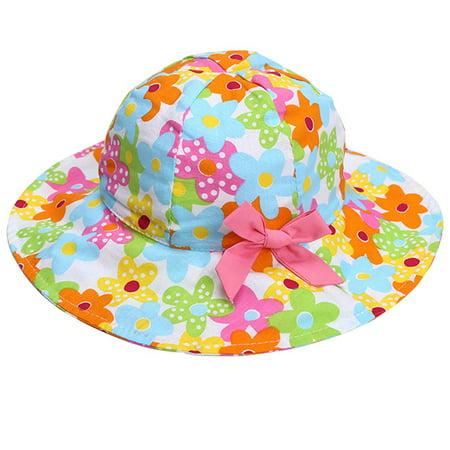 (Child Sunhat,Aniwon Adjustable Sun Protective Flower Summer Beach Hat Wide Brim Hat Floppy Hat Sun Bonnet Cap Hat Headwear Hair Accessories for Kids Infant Toddler Baby Girl)