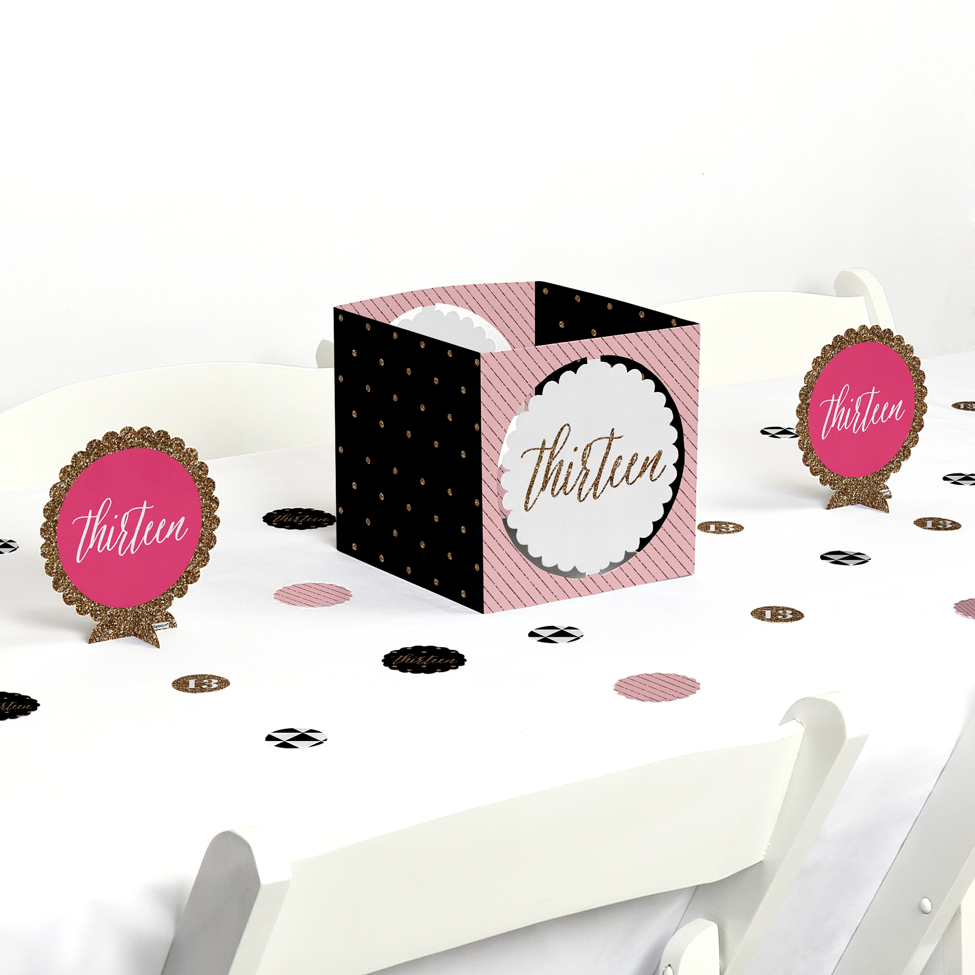 Chic 13th Birthday - Pink, Black and Gold - Birthday Party Centerpiece & Table Decoration Kit