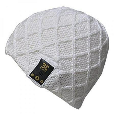 Behead Wear Wireless Headphone Speaker Microphone Beanie Hat Luv Spun Knit - White