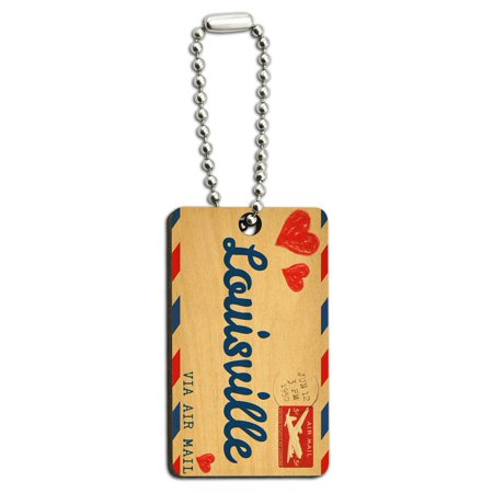 Air Mail Postcard Love for Louisville Wood Rectangle Key - Louisville Air