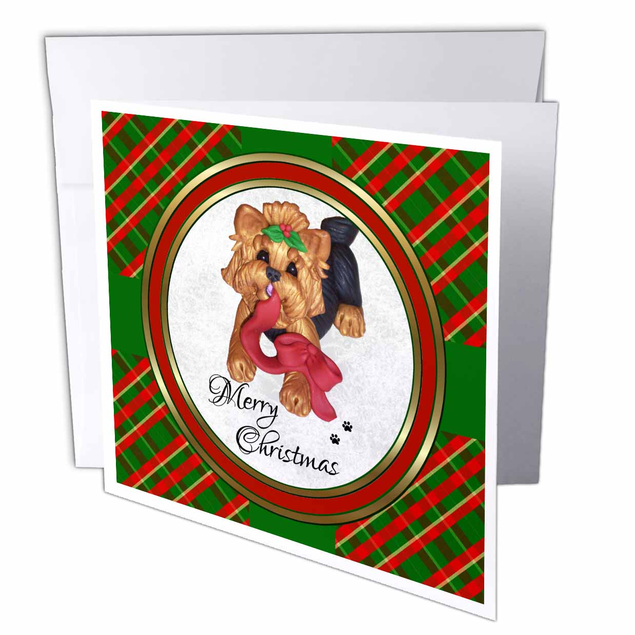 3dRose Cute Merry Christmas Red Ribbon Yorkie Yorkshire Terrier Dog Art , Greeting Cards, 6 x 6 inches, set of 12
