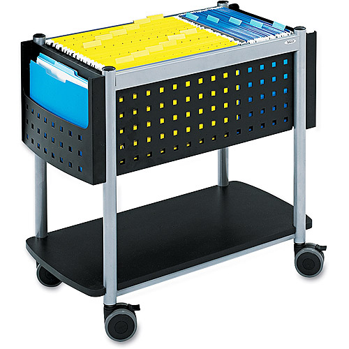 Safco Scoot Open Top Mobile File Cart, 14-3/4w x28d x 26h, Blk w/Silver