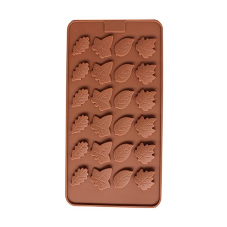 Jeobest 1PC Silicone Cake Mold for Baking - Silicone Baking Mold - 24 Cavity Mini Leaves Silicone Chocolate Molds Food Grade Non-Stick Kitchen Silicone Bakeware Mold (8.5 x 4.5 x 0.1 inch) MZ