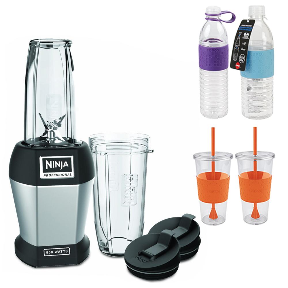 Ninja BL451 Pro Deluxe 900-watt Table Top Blender w\/ Bundle Includes,2x Copco Hydra Bottles 16.9oz & 20oz Blue & Purple,2x Copco Eco First Tumbler 24oz Togo Cup Mug-Orange