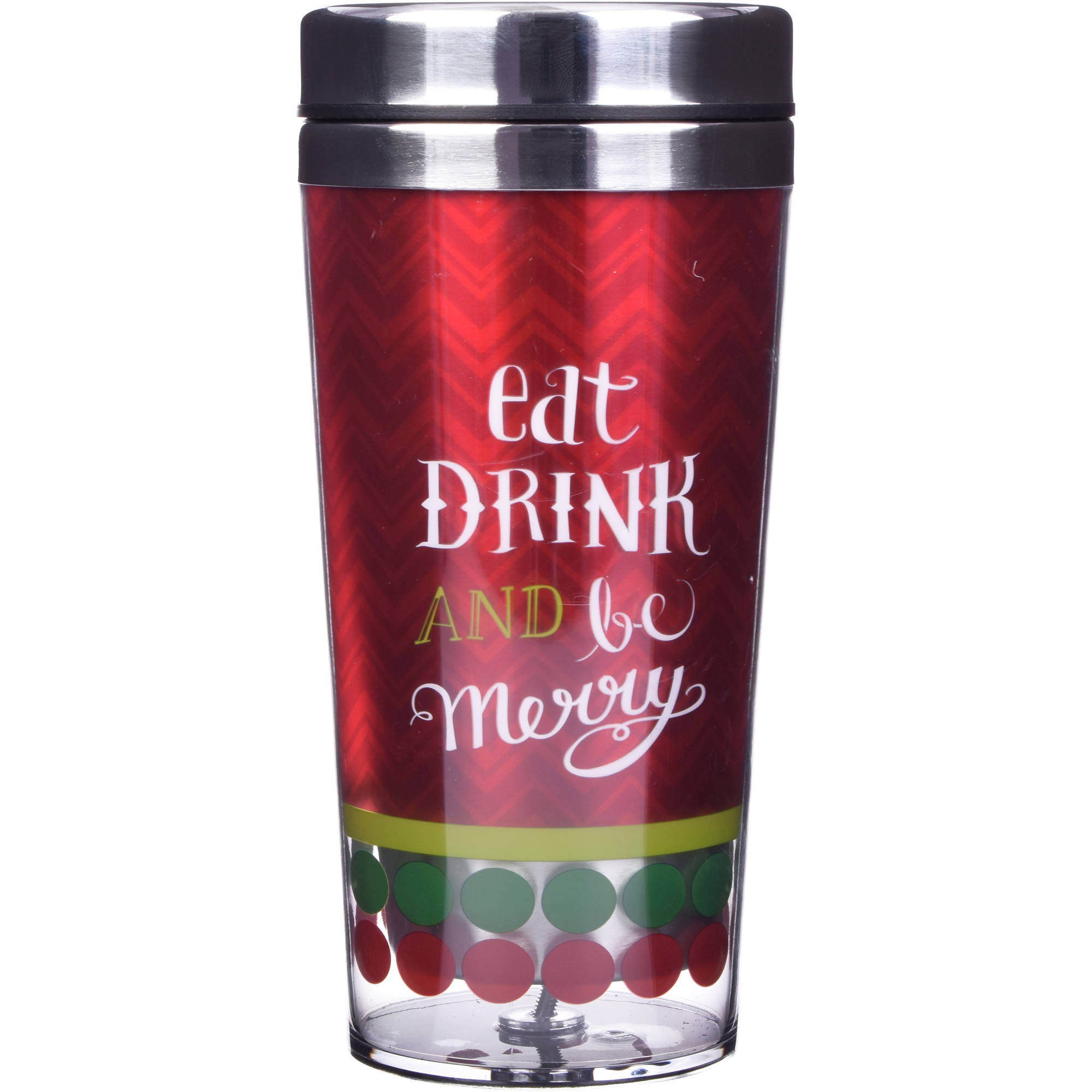Holiday Time 14 oz Stainless Travel Tumblers, Eat Drink and be Merry, Set of 2