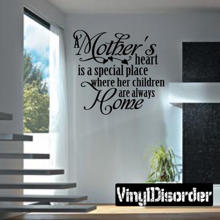 Her Special Place - A mothers heart is a special place where her children are always home Mother's Day Holiday Vinyl Wall Decal Mural Quotes Words F032 36 Inches