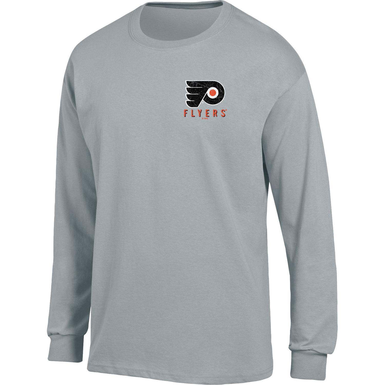 Men's Heathered Gray Philadelphia Flyers Back Hit Long Sleeve T-Shirt