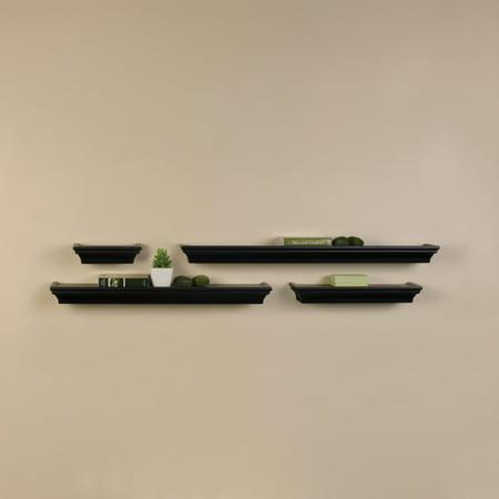 (Melannco Set of 4 Black Wall Shelves in Assorted Sizes)
