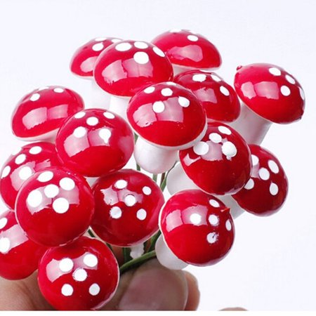 50 Pc Mini Red Mushroom Garden Dotted Small Potted DIY Toy House Landscape Bonsai Plant Garden