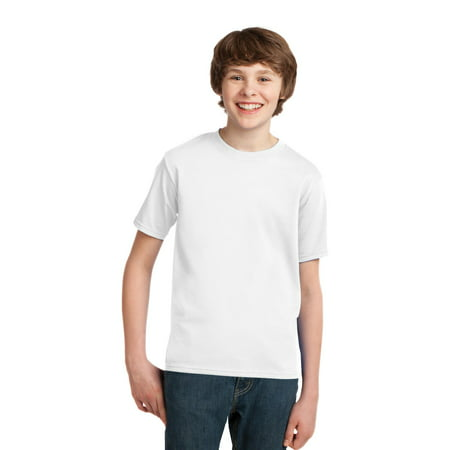 Port & Company Youth Cotton Essential T-Shirt. White. M. (Navy Blue And Gold)