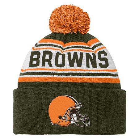 6d7188a8 nfl youth boys 8-20 cuffed knit with pom hat, cleveland browns ...