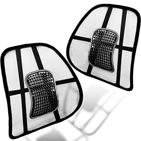 Muscle Car Decor (Zento Deals Black Lumbar Support Mesh Hollow – 2 Pack Black Hollow Car Auto Chair Seat Back Muscle Cushion Home Office Waist Indoor)