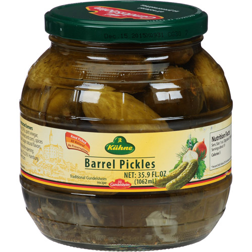 Kuhne Barrel Pickles, 35.9 fl oz, (Pack of 6) by Generic