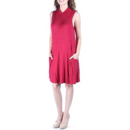 TRIXXI Womens Red Pocketed Sleeveless Crew Neck Knee Length Trapeze Dress  Size: XS