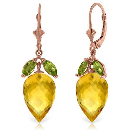 Citrine Briolette Earrings (ALARRI 20 Carat 14K Solid Rose Gold Earrings Peridot Briolette Citrine.)