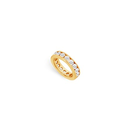 Three Carat Cubic Zirconia Eternity Ring in 18K Yellow Gold Vermeil Third Wedding Anniversary Je - image 2 de 2