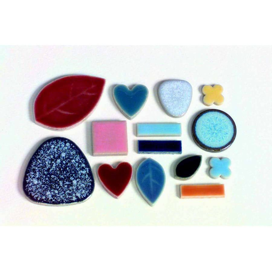 """School Specialty Bulk Assorted Shape Mosaic Tile, 0.37"""" to 1.5"""", Assorted Color, 5 Pound Bag"""