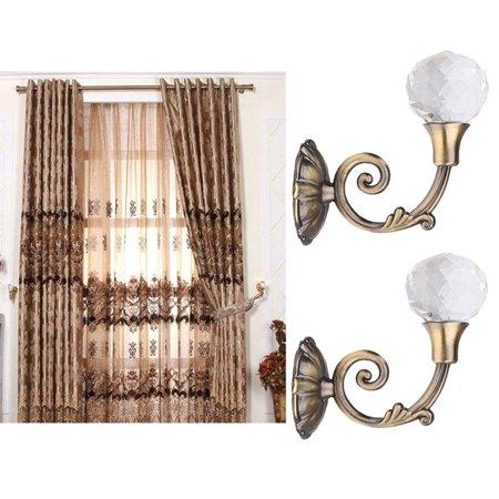 2x Large Metal Crystal Glass Curtain Holdback Wall Tie Back Hooks Hanger