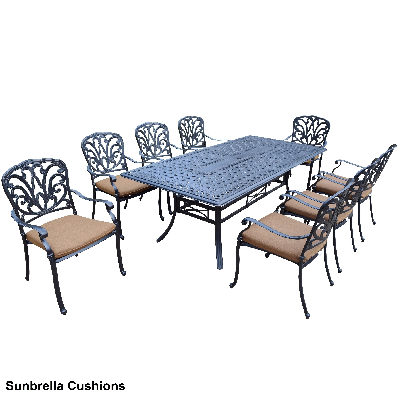 Sunbrella Aluminum 9-piece Dining Set with Stackable Chairs Sunbrella Cushion